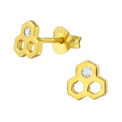 Ohrstecker 925 Sterling Silber vergoldet mit Honigwabe und Zirkonia