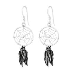 925 Sterling Silber Ohrhaken Ohrhänger mit Traumfänger