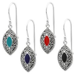 925 Sterling Silber Ohrhaken Bali Ohrhänger in verschiedenen Farben