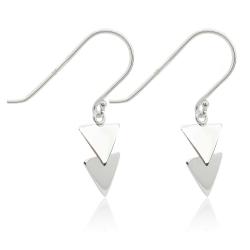 925 Sterling Silber Ohrhaken Ohrhänger mit Dreiecken
