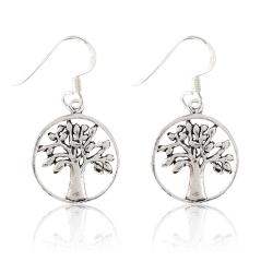 925 Sterling Silber Ohrhaken Ohrringe mit Lebensbaum
