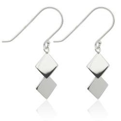 925 Sterling Silber Ohrhaken Ohrhänger mit Quadraten