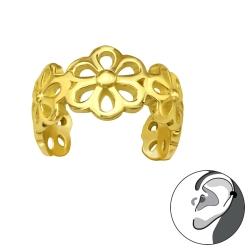 Ear Cuff 925 Sterling Silber Ohrklemme vergoldet mit Blumen