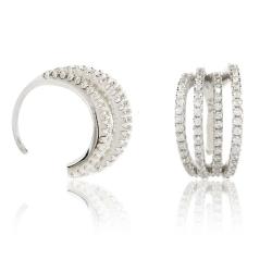 Ohrklemmen 925 Sterling Silber Ear Cuffs mit Zirkonia-Steinen besetzt