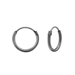 Creolen Ohrringe 925 Sterling Silber Ruthenium plattiert 12mm