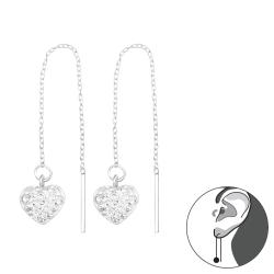 Durchzieher Ohrringe 925 Sterling Silber Ohrhänger Herz mit Kristallen