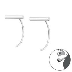 925 Sterling Silber Durchzieher Creolen Ohrringe mit Stab