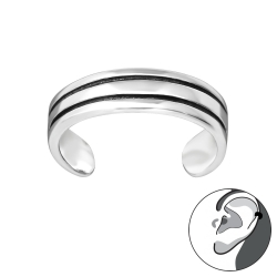 Ear Cuff 925 Sterling Silber Ohrklemme mit 2 schwarzen Linien