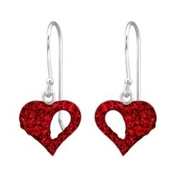 925 Sterling Silber Ohrhaken Ohrringe Herz mit roten Kristallen