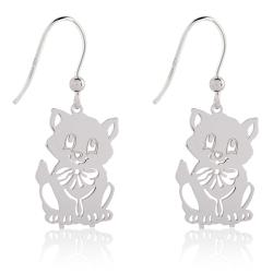 925 Sterling Silber Ohrhaken Ohrringe mit Katze