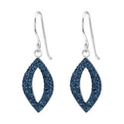 925 Sterling Silber Ohrhaken Ohrringe mit Swarovski-Kristallen in blau