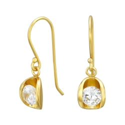 925 Sterling Silber Ohrhaken Ohrhänger vergoldet mit Zirkonia