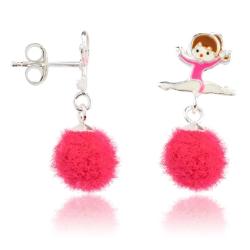 Kinderohrstecker 925 Sterling Silber mit Ballerina und Puschel in pink