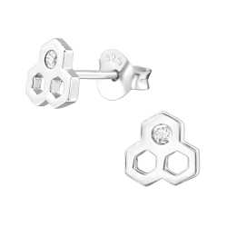 Ohrstecker 925 Sterling Silber mit Honigwabe und Zirkonia