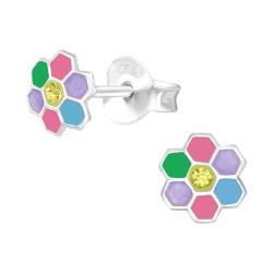 Ohrstecker 925 Sterling Silber bunte Blume mit Kristall