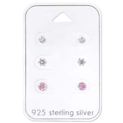 Ohrstecker Set 925 Sterling Silber Blumen