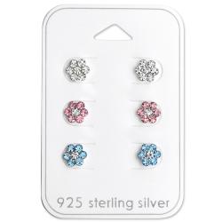 Ohrstecker Set 925 Sterling Silber Blumen in verschiedenen Farben