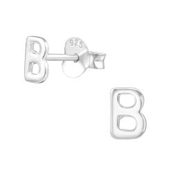 Buchstaben Ohrstecker 925 Sterling Silber mit B