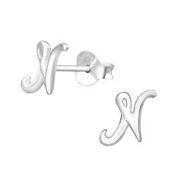 Buchstaben Ohrstecker 925 Sterling Silber mit N
