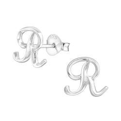 Buchstaben Ohrstecker 925 Sterling Silber mit R