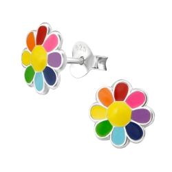 Ohrstecker 925 Sterling Silber mit bunter Blume Regenbogen