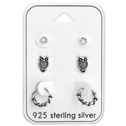 Ohrringe Ohrstecker Set 925 Sterling Silber Creolen Eule