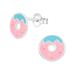 Ohrstecker 925 Sterling Silber mit pinkem Donut