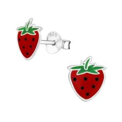 Ohrstecker 925 Sterling Silber mit Erdbeere
