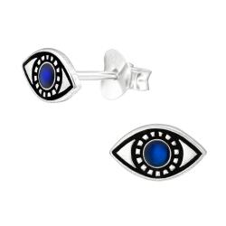 925 Sterling Silber Ohrstecker Evil Eye Türkisches Auge