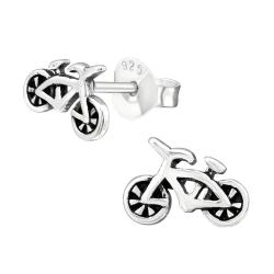 Ohrstecker 925 Sterling Silber mit Fahrrad