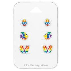 Ohrstecker Set 925 Sterling Silber mit bunten Motiven