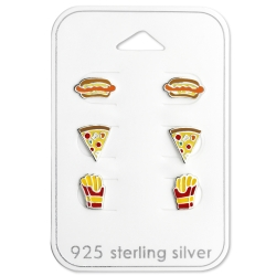 Ohrstecker Set 925 Sterling Silber Fast Food