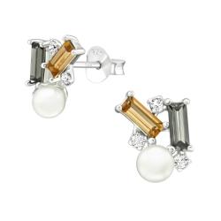 Perlenohrstecker 925 Sterling Silber mit geometrischen Kristallen