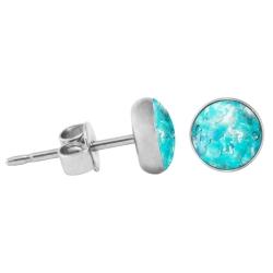 925 Sterling Silber Ohrstecker Glitterline in hellblau 6 mm