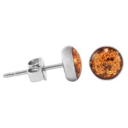 925 Sterling Silber Ohrstecker Glitterline in hellbraun 6 mm