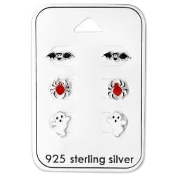 Ohrstecker Set 925 Sterling Silber mit gruseligen Motiven
