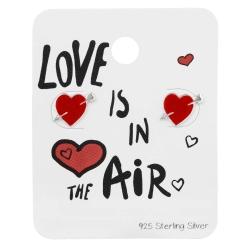 925 Sterling Silber Ohrstecker Herz mit Pfeil auf Schmuckkarte