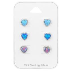 Ohrstecker Set 925 Sterling Silber Herzen mit synthetischen Opalen