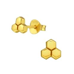 Ohrstecker 925 Sterling Silber gelbvergoldet mit Honigwabe