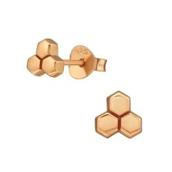 Ohrstecker 925 Sterling Silber rosévergoldet mit Honigwabe