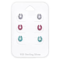 Ohrstecker Set 925 Sterling Silber Hufeisen in verschiedenen Farben