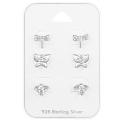 Ohrstecker Set 925 Sterling Silber mit fliegenden Insekten