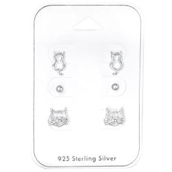 Ohrstecker Set 925 Sterling Silber Katzenliebhaber