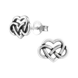 925 Sterling Silber Ohrstecker Keltisches Herz
