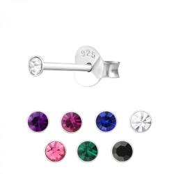 Ohrstecker 925 Sterling Silber mit Kristall 2mm in verschiedenen Farben