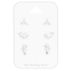 Ohrstecker Set 925 Sterling Silber mit Meerestieren