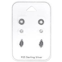 925 Sterling Silber Ohrstecker Set mit verschiedenen Motiven