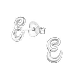 925 Sterling Silber Buchstaben Ohrstecker mit E