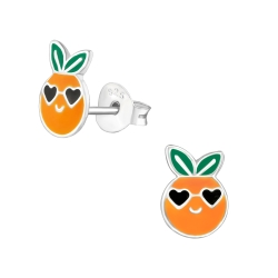 Ohrstecker 925 Sterling Silber mit Orange
