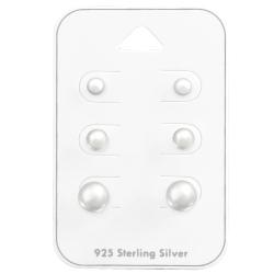 Ohrstecker Set 925 Sterling Silber mit Perlen 4-8mm